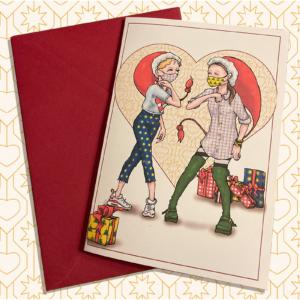 3 Julekort med nisser, der overholder retningslinjer for Covid-19