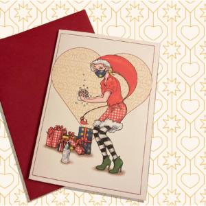 Julekort – Nisse der spritter hænder